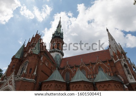 St. Joseph's Church built from red brick. Gothic architecture in Krakow, Poland. Photo stock ©