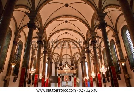 St Joseph Wangfujing Cathedral Basilica Interior Church Beijing China Very Famous Catholic
