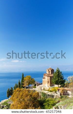 St. Jovan Church Overlooking Lake Ohrid on Sunny Autumn Day in Macedonia