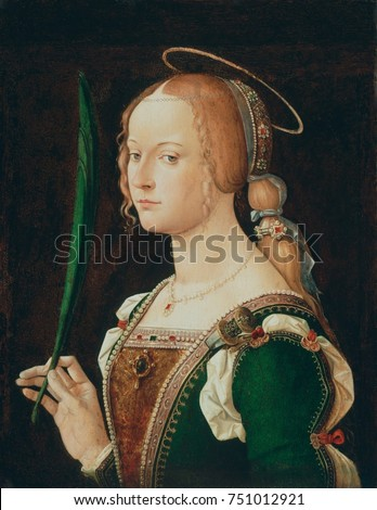ST. JUSTINA OF PADUA, by Bartolomeo Montagna, 1490-1524, Italian Renaissance painting, oil on wood. Justina of Padua was baptized by St. Prosdocimus, the first bishop of Padua, and then martyred for h