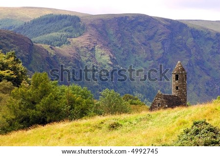 St. Kevin's ancient church in Glendalough, Wicklow Mountains, Ireland