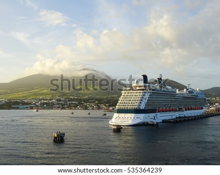 ST KITTS, CARIBBEAN - NOV 25, 2015: Cruise ship Silhouette from Celebrity Cruises in harbor of St Kitts, the Caribbean on 25th November, 2015