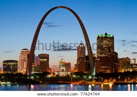 St. Louis at twilight. Long exposure shot.