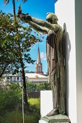 St Louis Cathedral in Fort de France was completed in 1895. Martinique is a French island located in the Lesser Antilles of the Caribbean Sea.