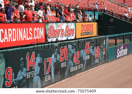 ST. LOUIS - SEPTEMBER 18: Cardinals fans and retired player numbers at Busch Stadium on September 18, 2010 in St. Louis. 11 Cardinal greats have had their numbers retired.
