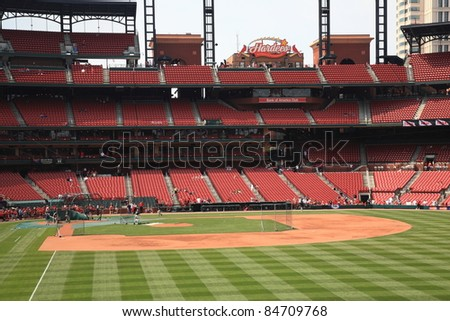 ST. LOUIS - SEPTEMBER 18: Practice before a baseball game at Busch Stadium, home of the Cardinals, on September 18, 2010 in St. Louis. Opened in 2006, it seats 43,975 fans and cost $365 million.
