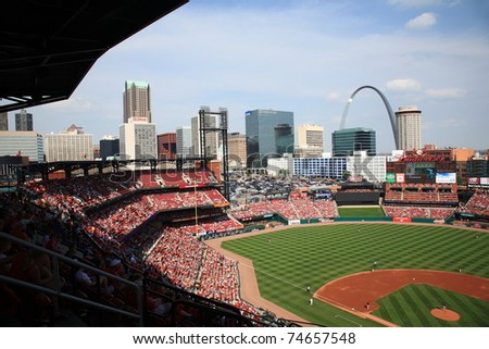 ST. LOUIS - SEPTEMBER 18: Skyline and Gateway Arch at Busch Stadium before a game between the Cardinals and Padres, with both teams fighting for the playoffs, on September 18, 2010 in St. Louis.