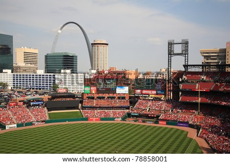 ST. LOUIS - SEPTEMBER 18: The Gateway Arch as seen from Busch Stadium on September 18, 2010 in St. Louis, MO. The Arch stands at 630 feet high, the tallest man-made monument in the United States.