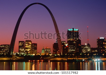 St. Louis skyline and Arch at night, St. Louis, Missouri