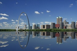 St Louis skyline and reflection