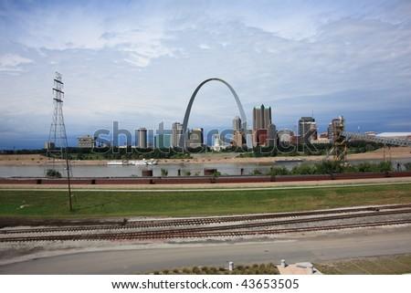 St. Louis Skyline - Gateway Arch and Railroad Tracks