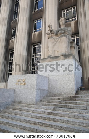 St. Louis statue at Mel Carnahan Courthouse  - Equal Justice statue at the former Federal Courthouse in St. Louis, Missouri. The building was constructed in 1935 with allegorical figures.