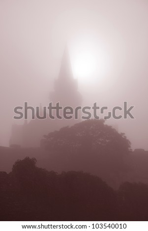 St Magnus Cathedral Church on the Orkney Islands, Scotland on a Misty Morning