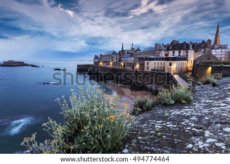 St-Malo panorama at evening. St-Malo, Brittany, France