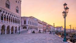 St. Mark's square in Venice during sunrise in Italy