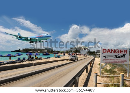 ST MARTIN, ANTILLES - DEC. 15: Corsairfly enhances its frequency towards St Martin up to 3 flights per week in Dec. 15 2008 in St Martin.