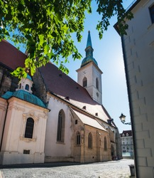 St Martin Cathedral in Old Town of Bratislava city, Slovakia, Slovak aged catholic Church under blue sky in summer