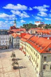 St. Martin's Cathedral, Bratislava castle (from left to right) and  main square of Bratislava city, Slovakia