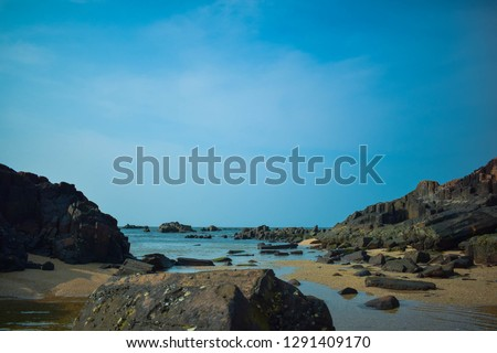 ST Mary Island located in Mangalore, Karanataka, India. One the best place to visit for tourist. To reach Island need to Travel on a boat from Malpe beach. Watersport available. #1291409170