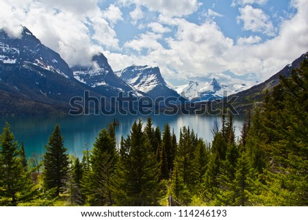 St Mary lake in Glacier National Park in USA