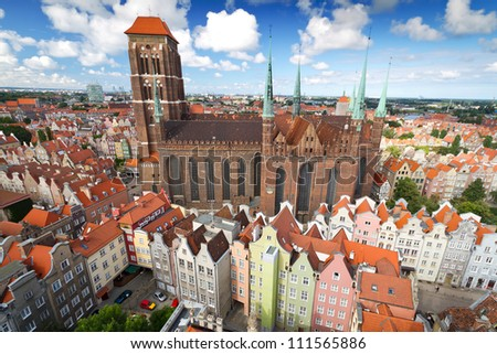 St. Mary's Cathedral in old town of Gdansk, Poland
