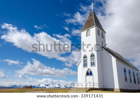 St. Mary\'s historic church in the foothills of the Rocky Mountains in Alberta, Canada