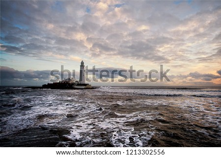 St Mary's Lighthouse and island lie north of the River Tyne and Whitley Bay on the North Sea coast of England. The lighthouse is no longer in operation and is now a museum and tourist attraction.