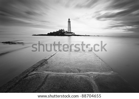 St Mary's Lighthouse near Whitley Bay in Northumberland at sunrise