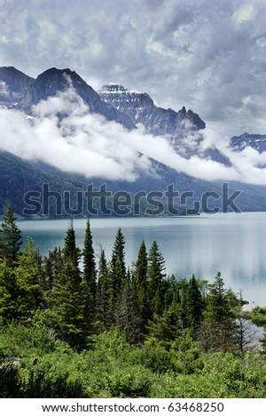 St. Marys lake, Glacier National Park and stormy skies