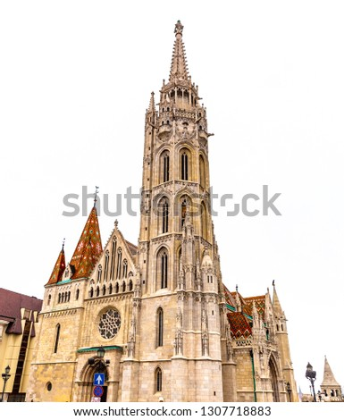 St. Matthias Church in the Fisherman's Bastion, Budapest, Hungary.  #1307718883
