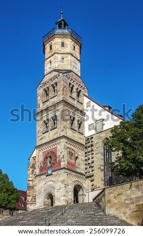St Michael Church. Schwabisch Hall is historical town in the German state of Baden-Wurttemberg and located in the valley of the river Kocher