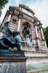 St. Michael fountain in Paris, France