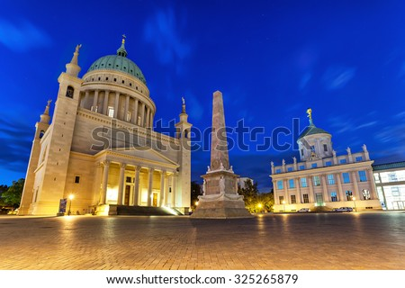 St. Nicholas Church and old city hall on Alter Markt square in Potsdam, Germany