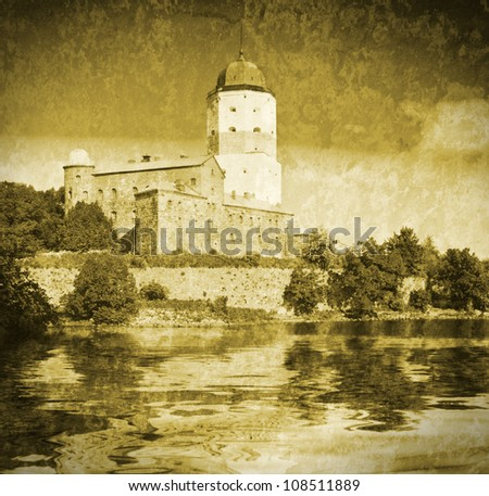 St Olov castle, medieval Swedish castle in Vyborg, Russia. Imitation of old postcards