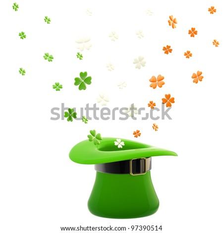St. Patrick green glossy hat with clover leaves inside it isolated on white