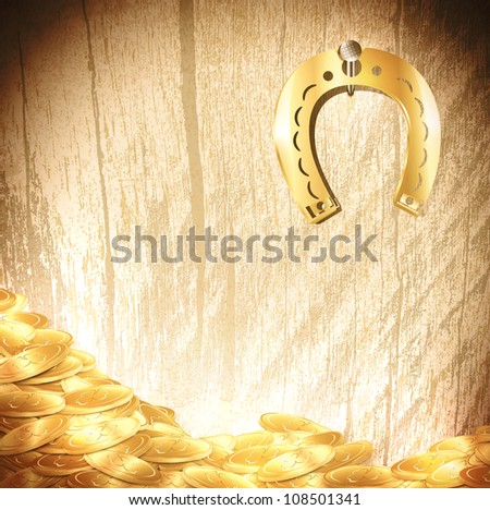 St.Patrick holiday background with gold coins and lucky horseshoe