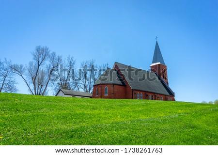 St. Patrick Irish Catholic Church constructed in 1830 in Brampton, Ontario, Canada. stock photo