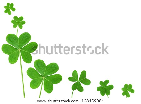 St. Patrick's clover border isolated on white background