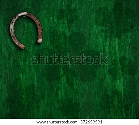 St. Patrick's day background and horseshoe on the wall