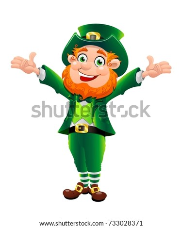 St Patrick's Day cheerful leprechaun cartoon character. Full length drawing of a dwarf. Saint Patricks Day symbol on white background.