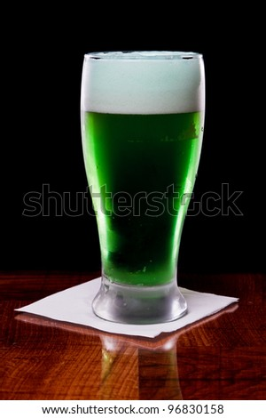 St Patrick's day green beer isolated on a black background