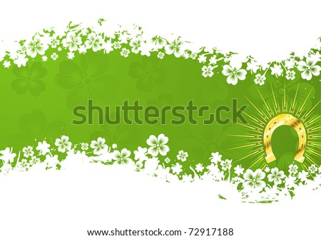 St. Patrick's Day grunge frame with gold horseshoe and wave pattern