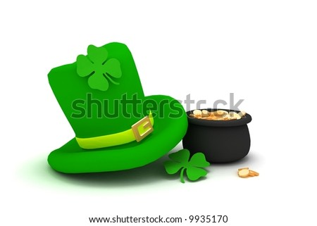 St. Patrick's Day leprechaun hat with four-leaf clover and pot with coins