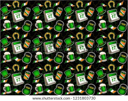 St. Patrick's Day Pattern. Hat, horseshoe, pot of gold, beer. seamless pattern bright elements on a dark background. Irish flags and calendar with the date of celebration - March 17th.