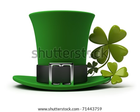 St. Patrick's hat with four-leaf clover. 3d image. Isolated white background.