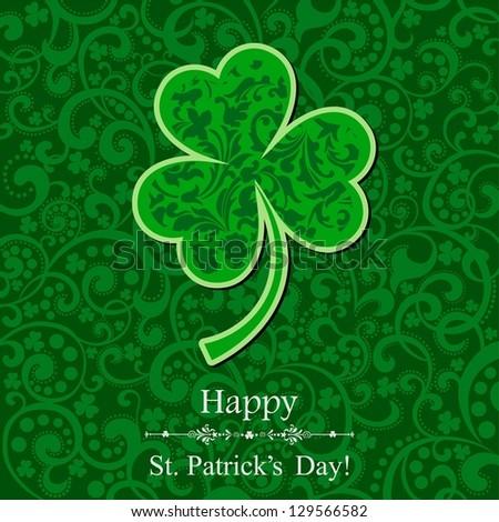 St. Patricks day background with clover. illustration.