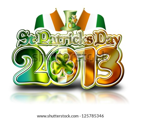 St Patricks Day 2013 Chrome Graphic with clipping path.
