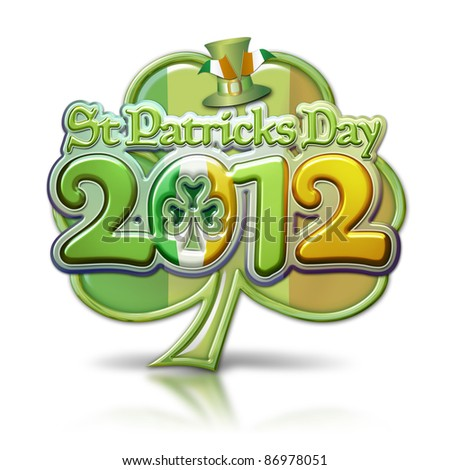 St Patricks Day 2012 Clover Graphic with clipping path.