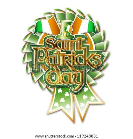 St Patricks Day Graphic on Rosette with clipping path.