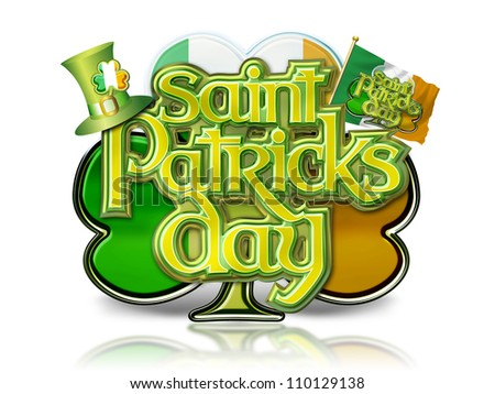 St Patricks Day Graphic with Shamrock, hat and Irish flag, with multiple clipping paths.